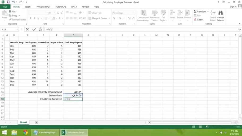 Excel 2013 Tutorial How To Calculate Employee Turnover