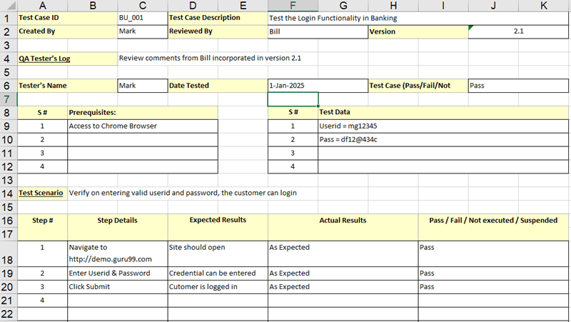 Download Sample Test Case Template Example Excel Word