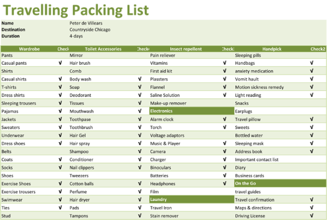8 Free Packing Checklist Templates Word Excel For