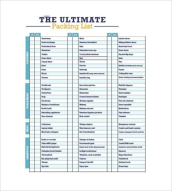 Packing List Template 10 Free Word Excel PDF Format