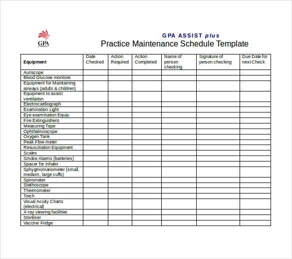 Vehicle Maintenance Schedule Template Excel Printable