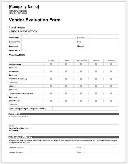 Vendor Evaluation Forms Templates For MS Word Word