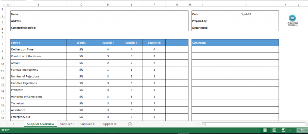 Vendor Rating Excel Sheet With Weighting Templates At