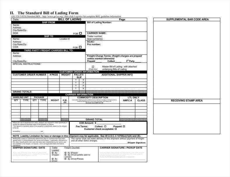 29 Bill Of Lading Templates Free Word PDF Excel