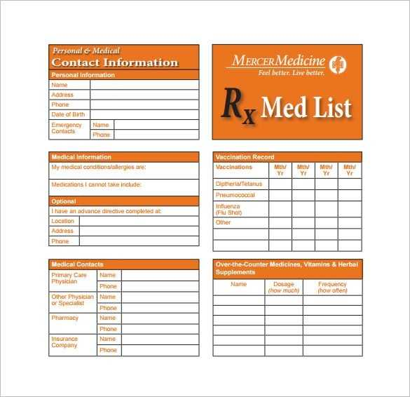 Wallet card template medication card template 13 free