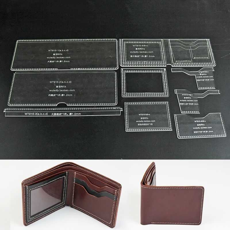 WUTA 915 C Classic Bifold Wallet Leather Template Clear