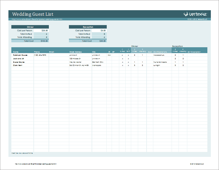 Wedding Guestlist Template For Excel