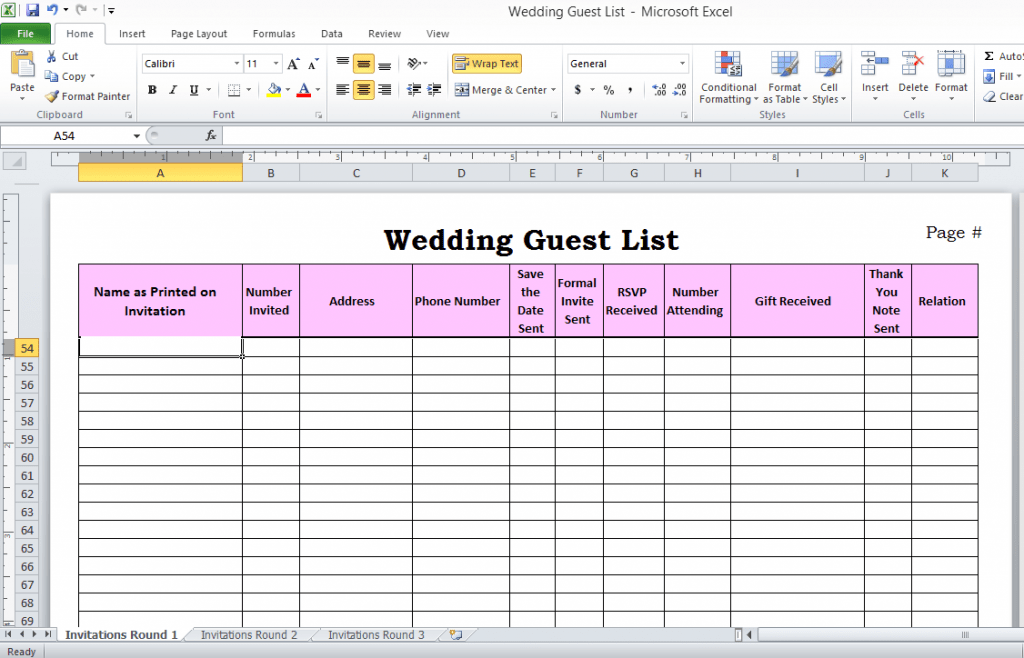 Wedding Guest List In Excel Need To Use This Or Something