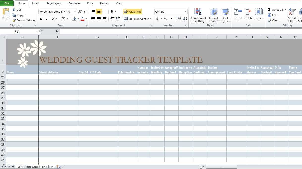 Wedding Guest List Template In Excel Excel TMP