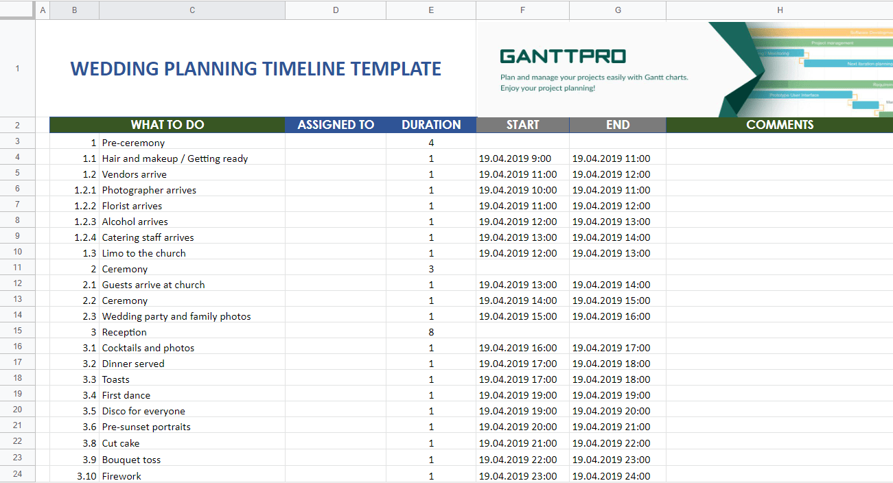 Wedding Planning Timeline Template Excel Template Free