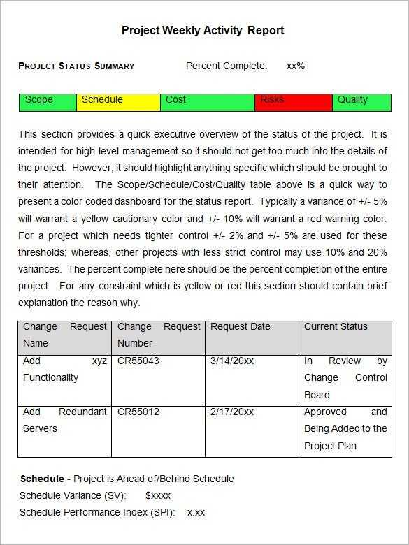 Weekly Activity Report Template 23 Free Word Excel