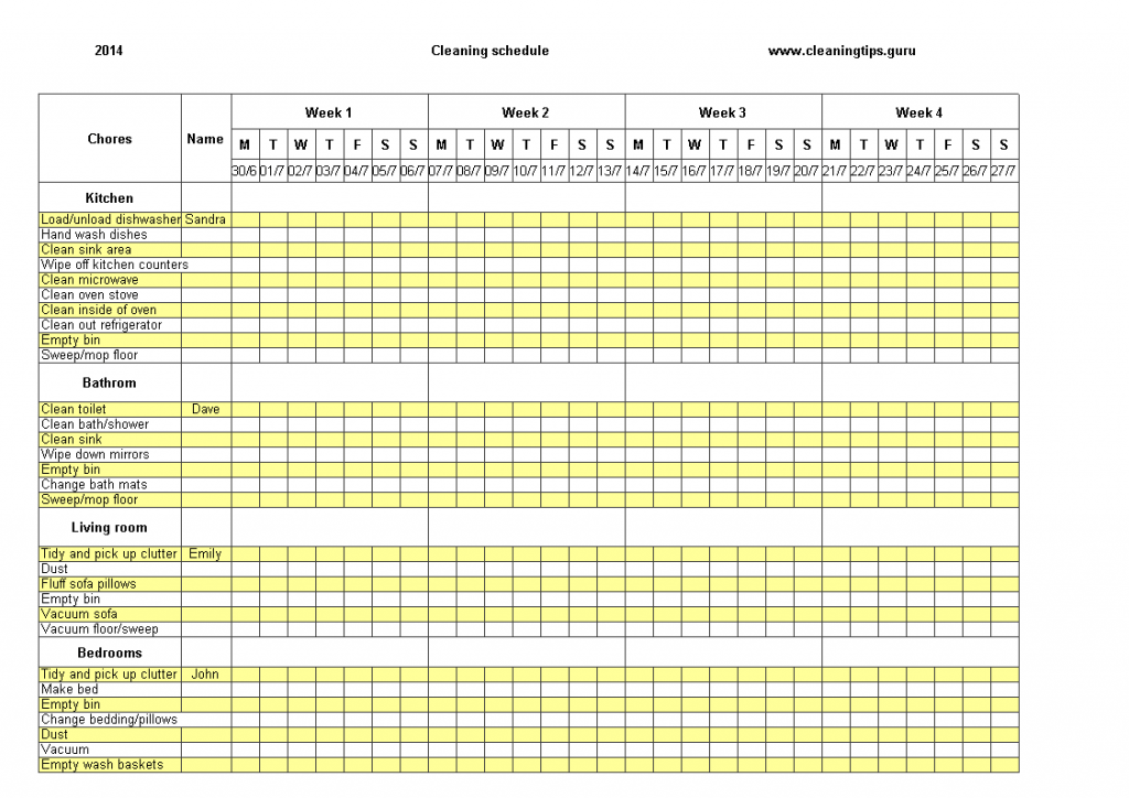 Excel Weekly Cleaning Schedule Templates At