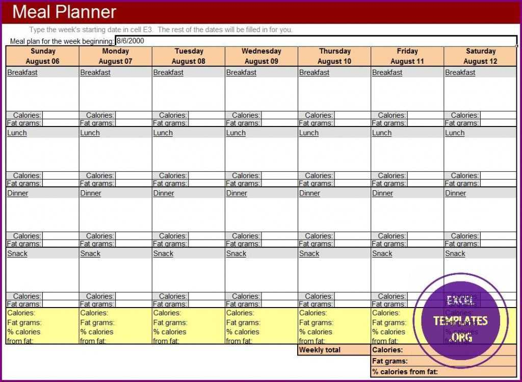 Meal Planner Template EXCELTEMPLATES