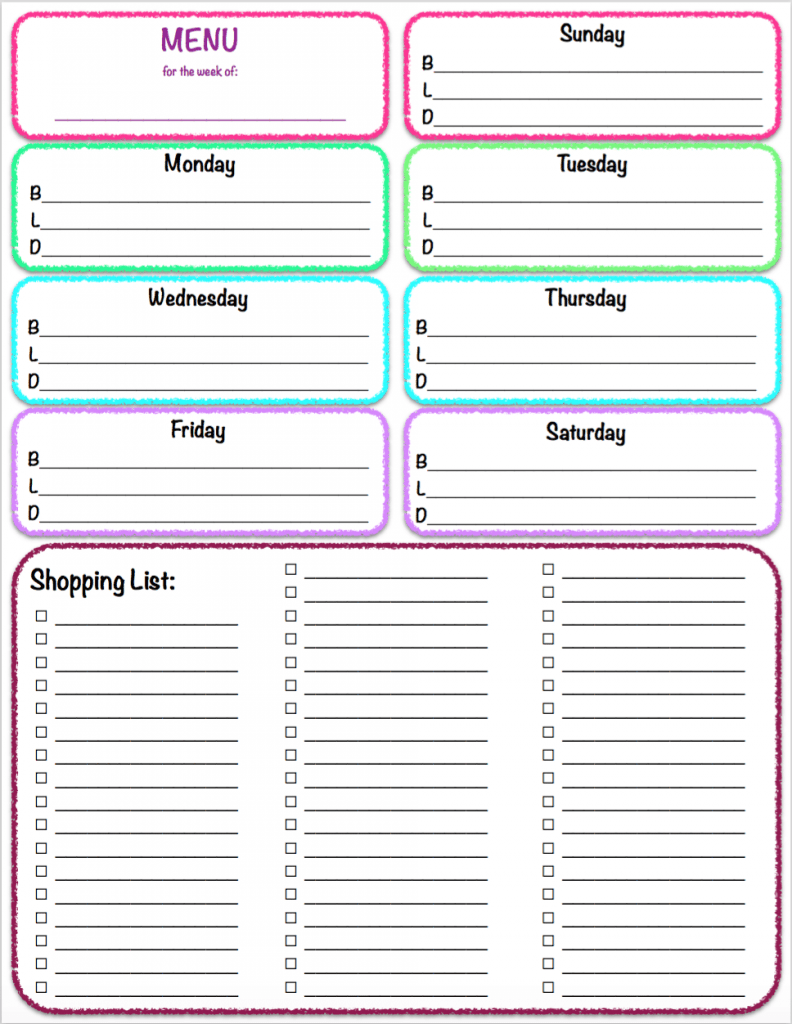 Free Printables Weekly Meal Planner Grocery List The