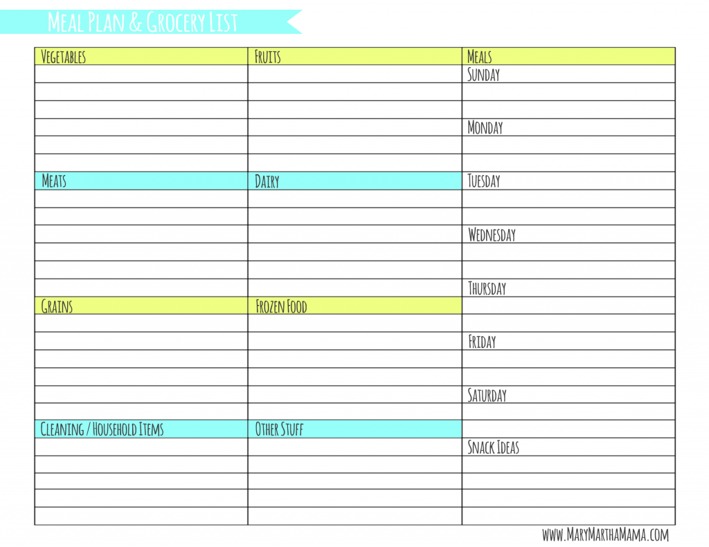 Weekly Meal Planner Template With Grocery List Mary