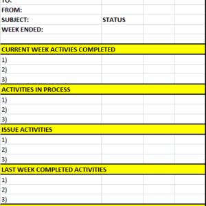 Weekly Status Report Template Excel Word Templates