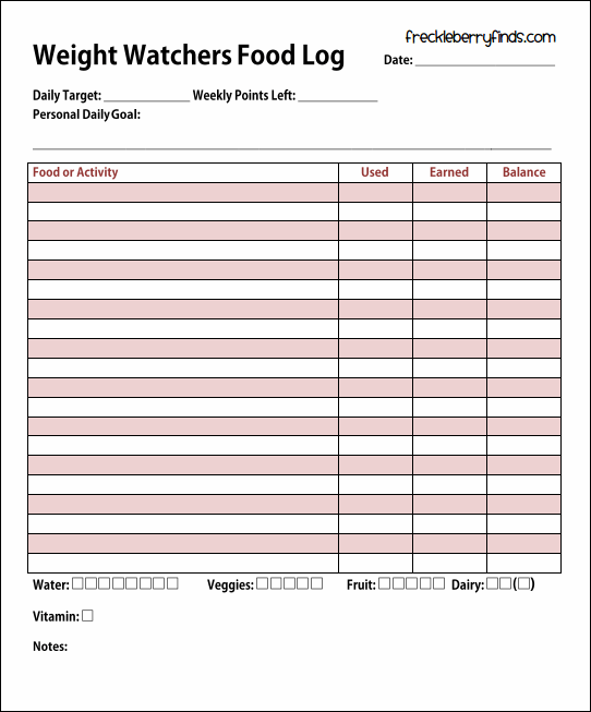 Free Weight Watchers Daily Food Log Printable