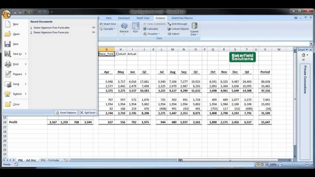 Excel Templates For The Oracle Smart View Excel Add in