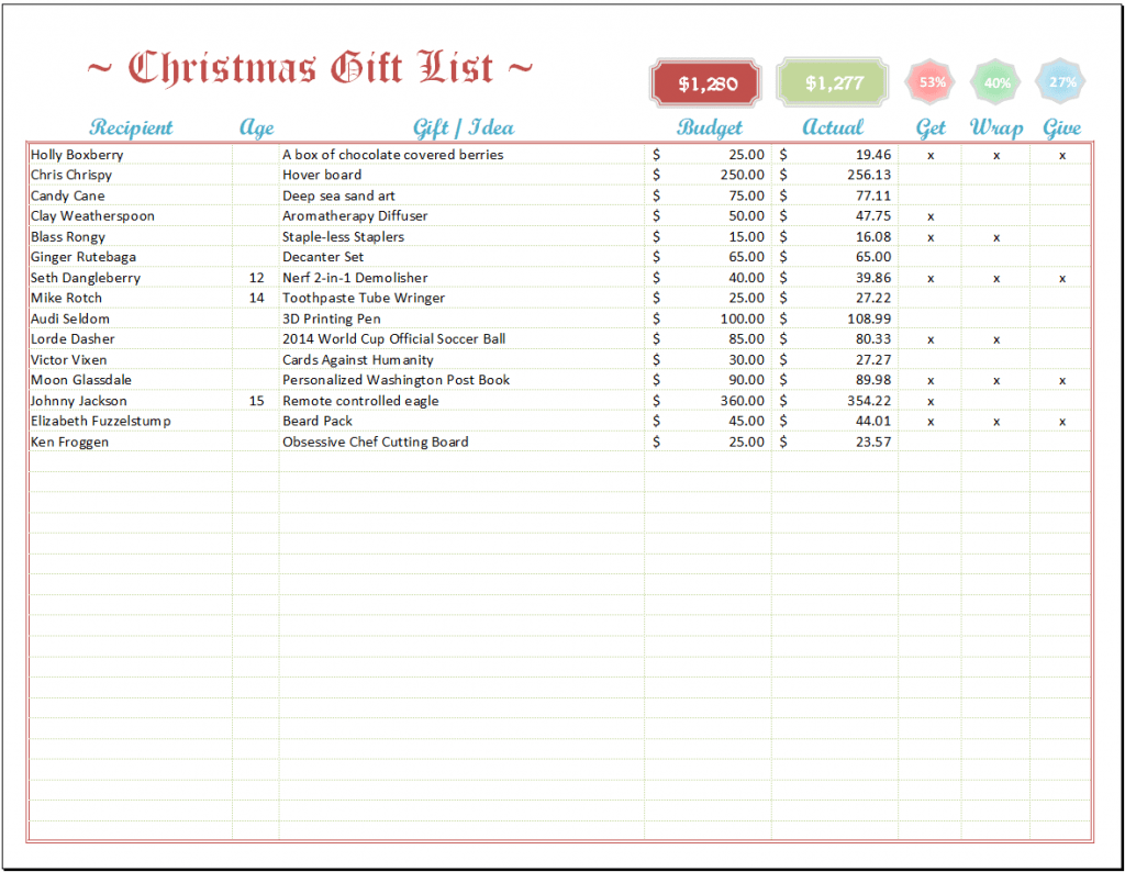 Excel Christmas List Template