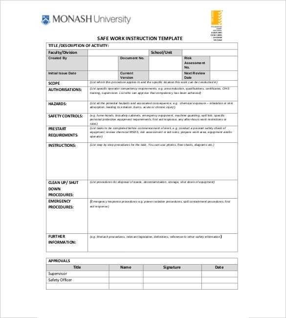 6 Instruction Templates DOC PDF Excel Free