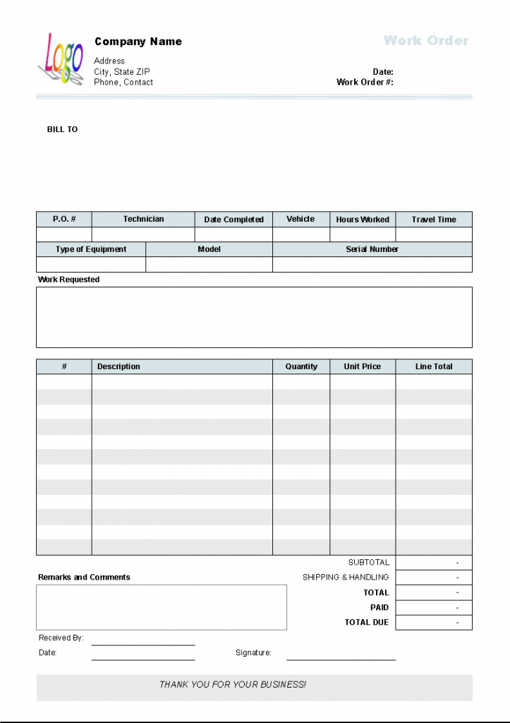 Work Order Template Invoice Manager For Excel