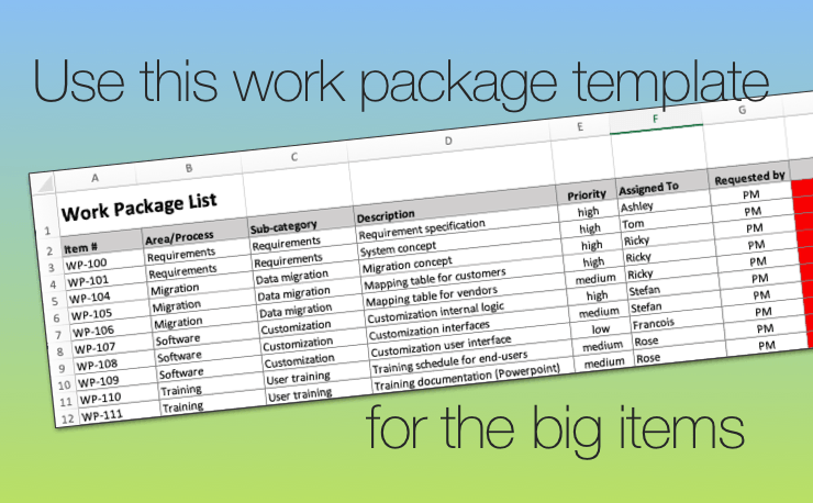 Use This Work Package Template To Track Big Stuff In Excel
