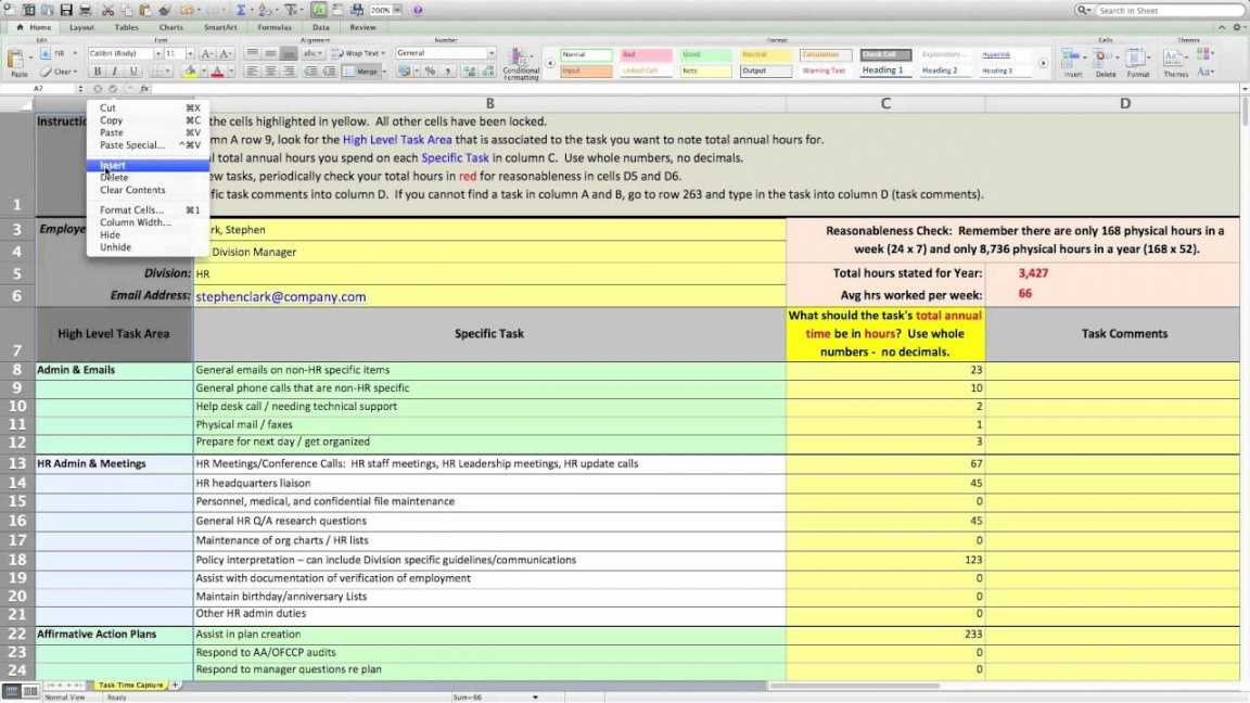 Workload Analysis Excel Template