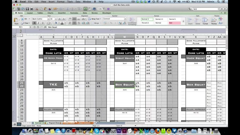 Personal Training Workout Log From Excel Training Designs