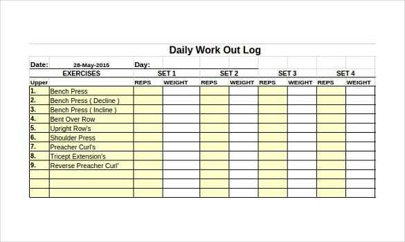Workout Log Template 14 Free Word Excel PDF Vector
