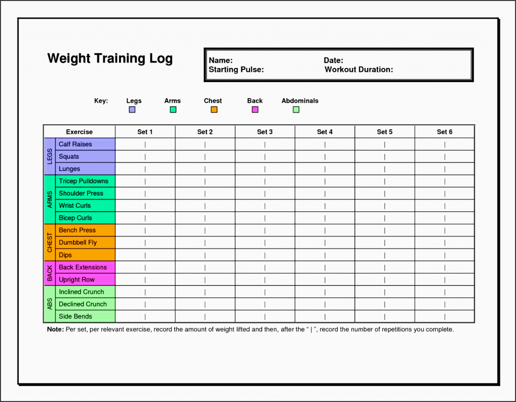 7 Exercise Planner Template In Excel SampleTemplatess
