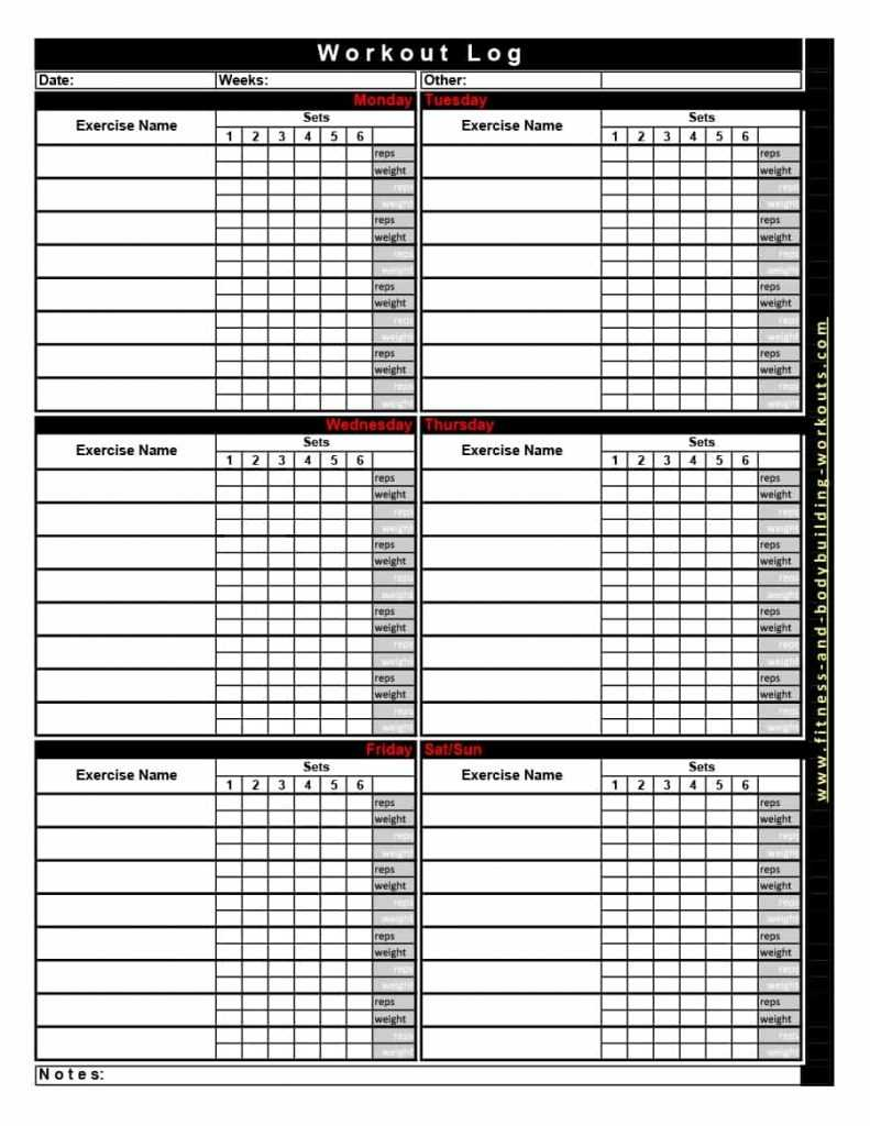 Workout Routine Spreadsheet Pertaining To 40 Effective