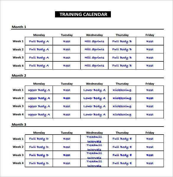 Workout Schedule Template Excel Printable Schedule Template
