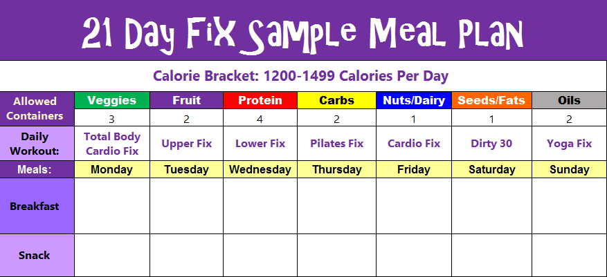 21 Day Fix Meal Plan Sample Menus For 1200 1499 1500