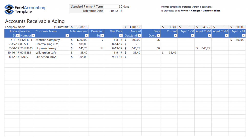 Free Accounting Templates In Excel Download For Your
