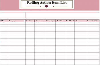 15 Free Rolling Action Item List Templates MS Office