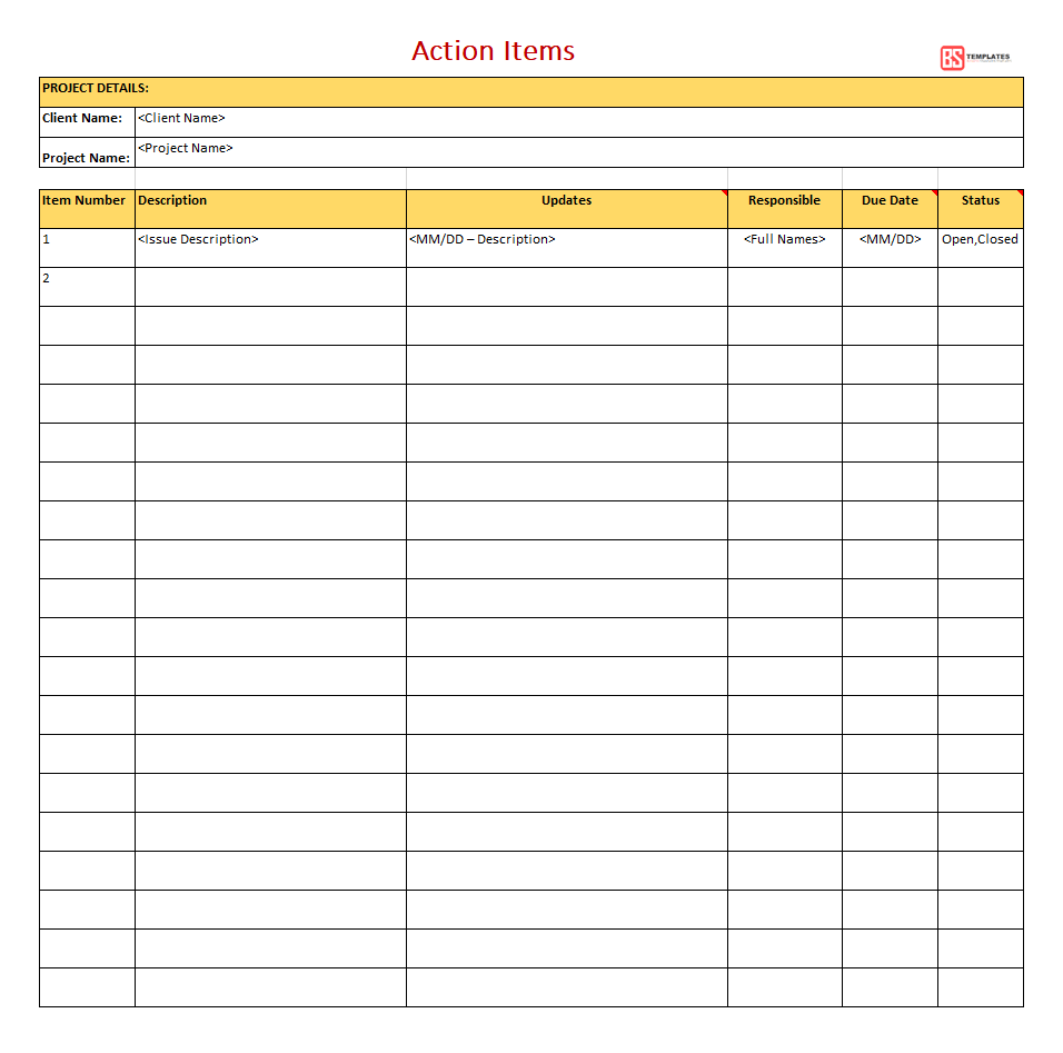 Free Action Items Template For Excel PDF To Do List