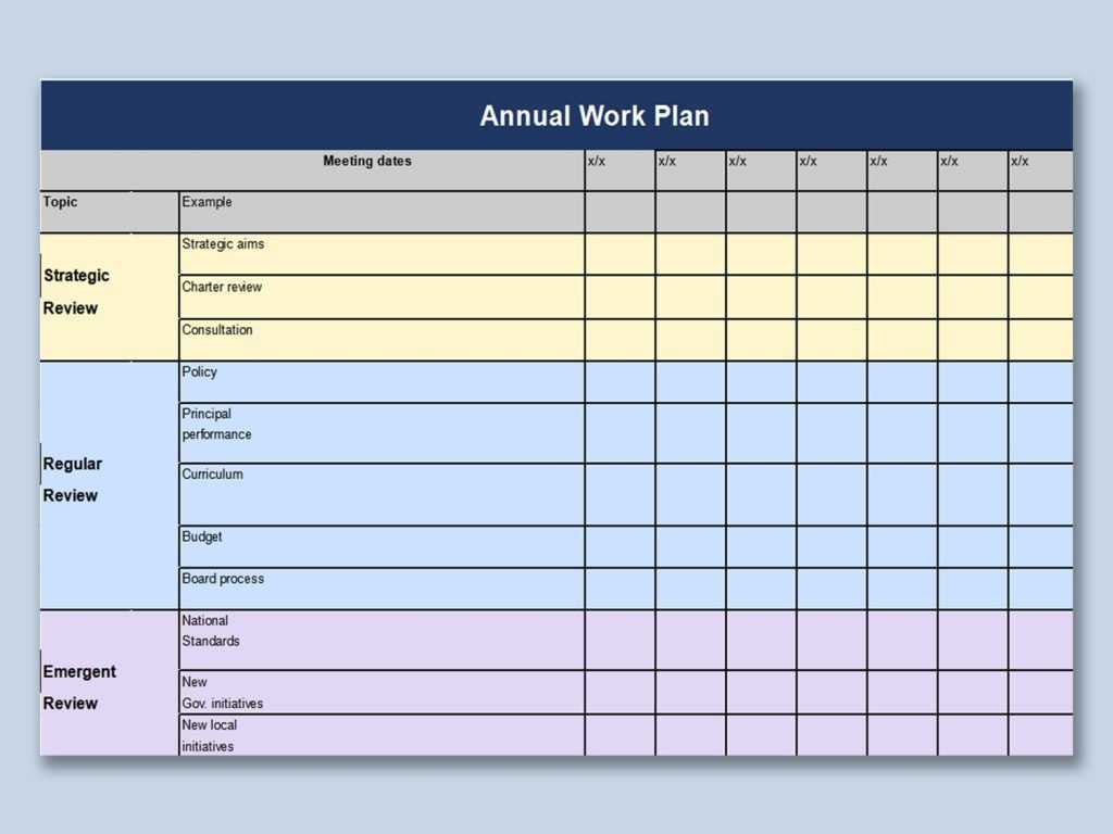 Sample Excel Templates Annual Work Plan Template Excel