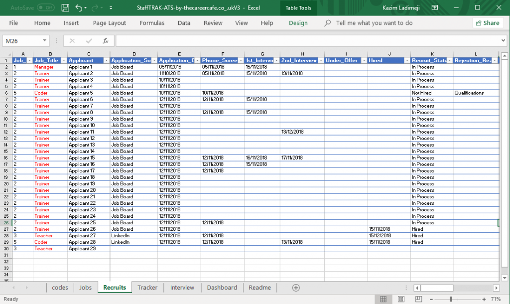 StaffTRAK ATS Applicant Tracking Smart Excel Template For