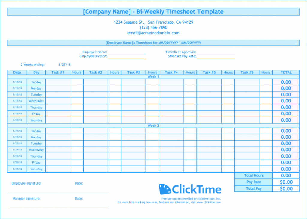 Biweekly Timesheet Template Free Excel Templates ClickTime