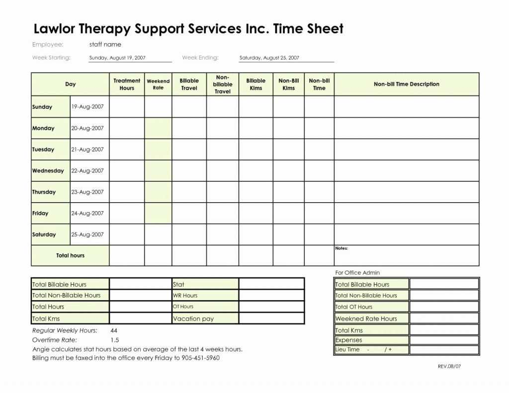Billable Hours Spreadsheet Latter Example Template