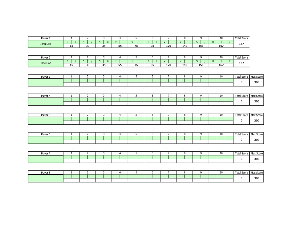 Bowling Score Sheet Excel Templates Excel Spreadsheets
