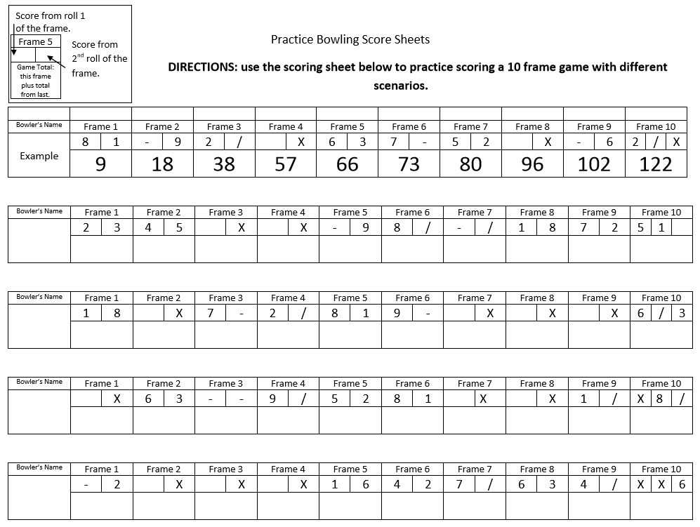 Simple Printable Bowling Score Sheet With Pins Excel