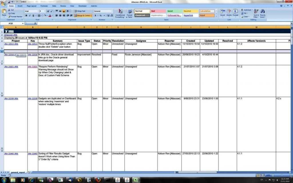 Bug Report Template Excel SampleTemplatess