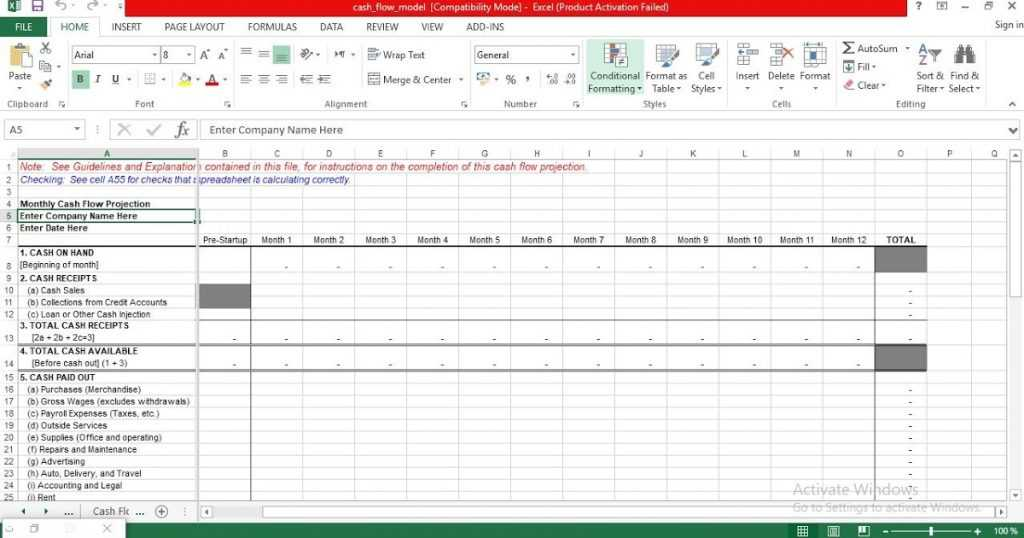 Monthly Cash Flow Projection Excel Template ENGINEERING