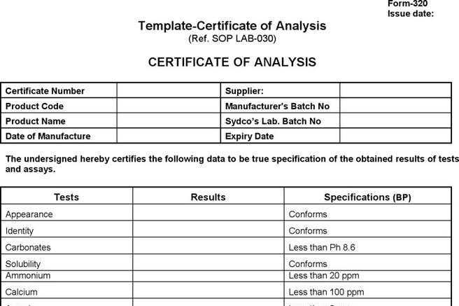 2 Certificate Of Analysis Free Download