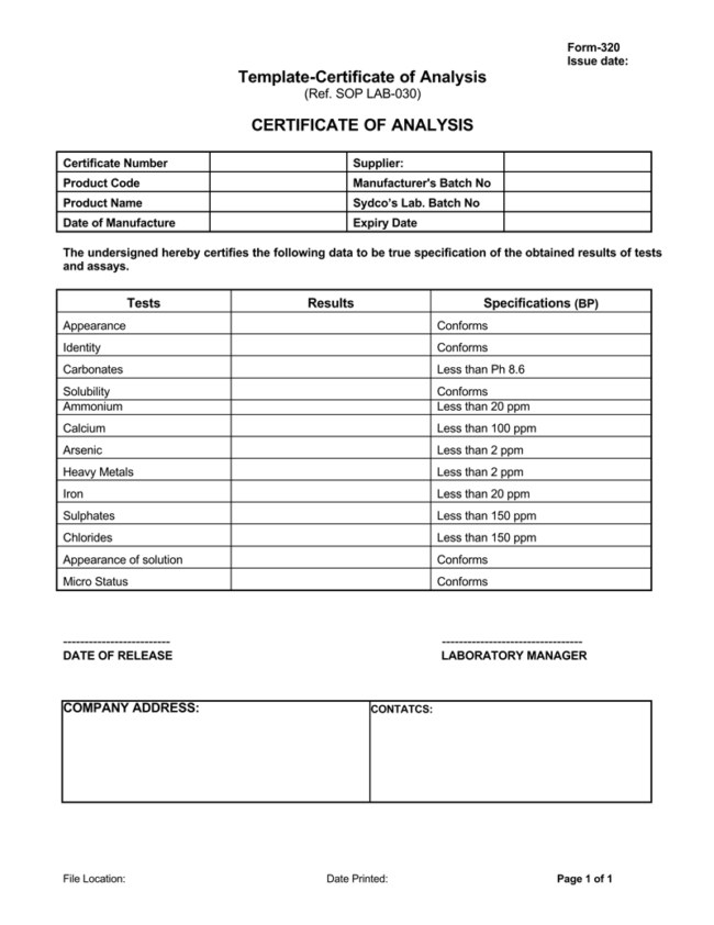Certificate Of Analysis Templates 5 Samples For Word