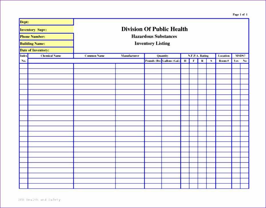 10 Chemical Inventory Template Excel Excel Templates
