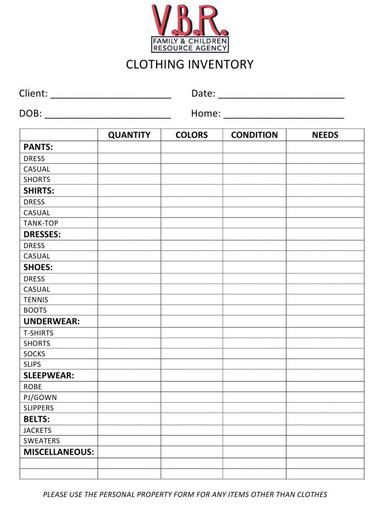 Clothing Inventory Spreadsheet Template Download Printable