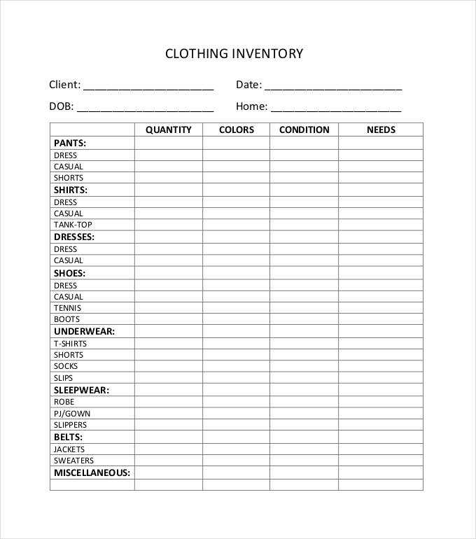 Clothing Inventory Template Charlotte Clergy Coalition