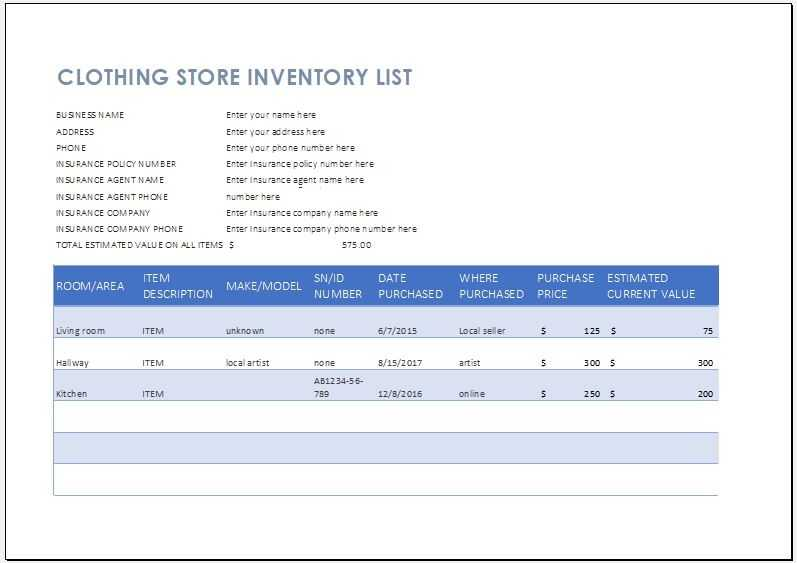 Clothing Store Inventory List Template Word Excel